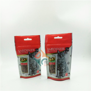 Plastic Zipper Dry Pet Food Packaging Bags Stand Up Pouches with Clear Window