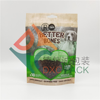 Custom Printed Stand Up Eco Friendly Packaging for Pet Treats with Zipper