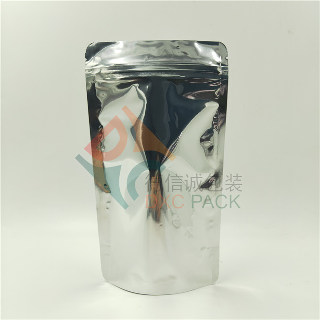 High Barrier Sliver Surface Compostable Stand Up Pouch with Compostable Zipper