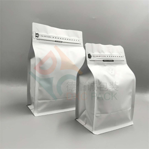 Matte White Foil Flat Bottom Pouch with Valve for Coffee