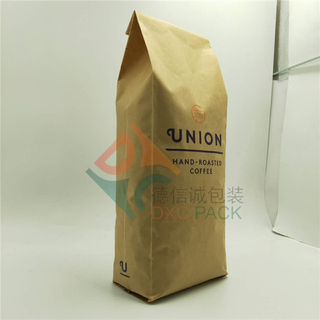 40oz Custom Side Gusset Kraft Coffee Bags with Hot Stamping