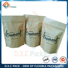 Custom Printing Snack Food Kraft Paper Stand Up Bags with Zipper