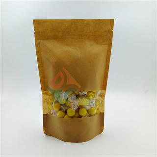 Eco friendly Zipper Kraft Paper Stand Up Pouch with Window for Oatmeal Packaging