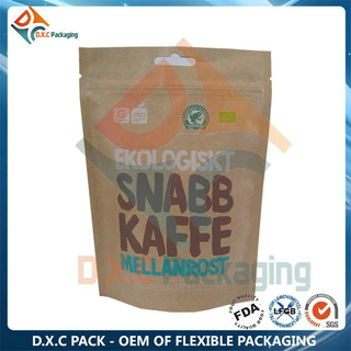 One-way Valve Kraft Paper Stand Up Pouches Coffee Packaging Bag