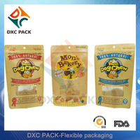 Kraft Paper Custom Window Ziplock Stand Up Pouches for Dry Pet Food Packaging