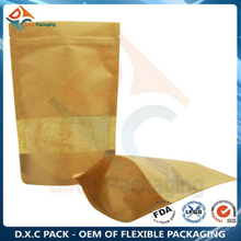 Kraft Paper Pouch For Food With Customized Window &Zipper Stand Up Pouch