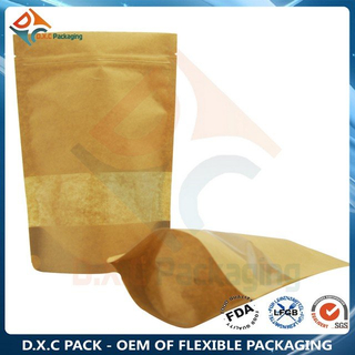 Customized Window Zipper Kraft Paper Stand Up Pouches for Oatmeal Health Food Packaging