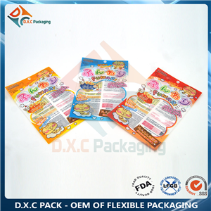 Dog treat packing 3 sides seal bag with transparent high barrier material