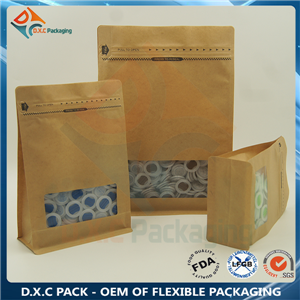 Flat Bottom Paper Bags With Pocket Zipper For Food Packaging