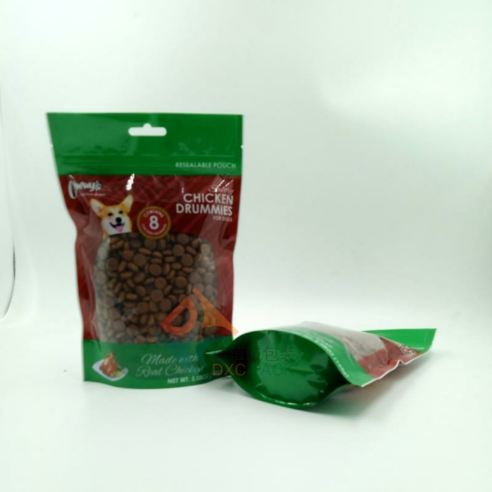 Custom Printed Dry Pet Food Packaging Bag Airtight Zipper Stand Up Pouches with Clear Window