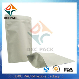 White Kraft Paper Stand Up Pouch With Zipper