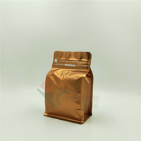 250g Matte Copper Flat Bottom Barrier Coffee Bag with Rip Zip in Stock
