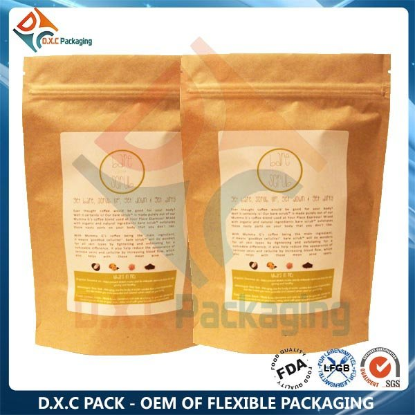 Plastic Oatmeal Health Food Packaging Heat Sealing Stand Up Pouches With Zipper