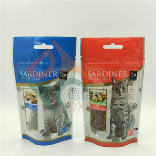 High Barrier Metallized Cat Food Stand Up Ziplock Bags with Window