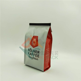 Custom Quad Seal Foil Side Gusseted Coffee Bags with Tin Tie