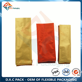 Aluminum foil side gusset pouch for food packaging with tin tie and valve