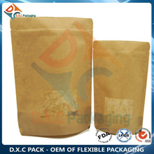 Laminated Kraft Paper Zipper Stand Up Bags For Snack Food Packaging with Clear Window