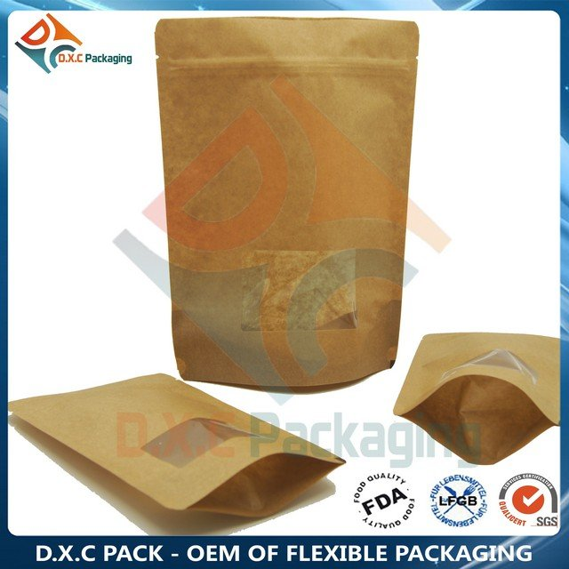 Laminated Kraft Paper Bags For Food With Clear Window Zip Lock Bags