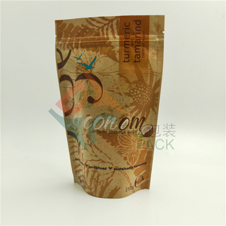 Kraft Paper Metallized Stand Up Zipper Pouch for Coconut